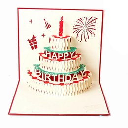 Wholesale Happy Christmas Cards - 3D card birthday cake 3D Pop UP Gift & Greeting Blessing Cards Handmade paper silhoue & Creative Happy christmas cards