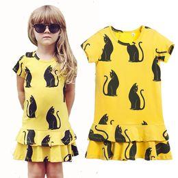 Wholesale Chinese Lolita Shirt - New Fashion Summer Girl Cotton Short Sleeve Yellow Dresses Children Kids Ruffles Mini Pleated Dress Baby Toddler Leisure Print Dress Shirt