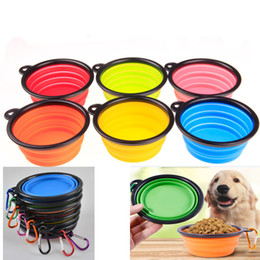 Wholesale Plastic Travel Folding Cup - Silicone Folding dog bowl Expandable Cup Dish for Pet feeder Food Water Feeding Portable Travel Bowl portable bowl with Buckle WX-G06