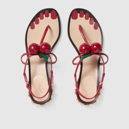 Wholesale Ladies Cherry - Design Cherry Women Roman Flats Sandals Flip Flops Perals Studded Shoes Woman Summer Beach Shoes Handmade 3 Colors Ladies Gladiator Sandals