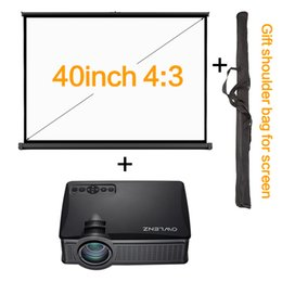 """Wholesale Manual Pull - Wholesale-Portable 1500 Lumens SD50 Plus LCD Projector + 40 inch 40"""" 4:3 Table Screen Pull Up Wall Mount Screen Mini Home Theater System"""