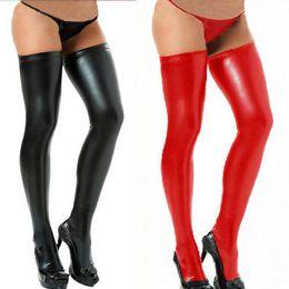 Wholesale Lingerie Nylon Fetish - Wholesale- New Women Sexy Latex Leather Stockings Fetish Latex Lingerie Stockings Wet Look Faux Leather Thigh Tights Hosiery With Thongs