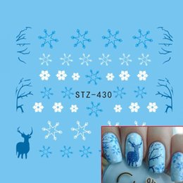 Wholesale Snow Nail Stickers - Wholesale- 1pcs Nail Art Decoration Water Decal Sticker Snow Flowers Snowflake Elk Blue Xmas Designs Transfer Tattoos Tips Manicure STZ430