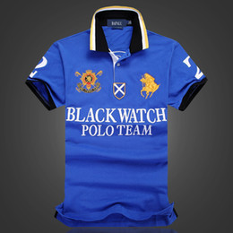 Wholesale Men S Sports Watches - discount Polo Shirt 100% Cotton Short Sleeve men Polos Sport S M L XL 2XL BLACK WATCH POLO TEAM Dropship