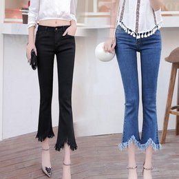 Wholesale Plaid Flannel Pants - Free shipping Spring and summer flannel pants legs nine pants elastic jeans JW036 Women's Jeans