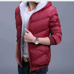 Wholesale Short Down Jacket Hood - Wholesale- The brand new men's cotton-padded jacket winter down cotton-padded coat skinny short thickening cotton clothes