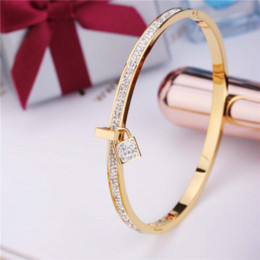 Wholesale Top Charm Bracelet Brands - 2017 New Fashion Stainless Steel Bangles Bracelet For Women PVD Gold Plated Rose Silver Color Key Charm Top Famous Brand Jewelry