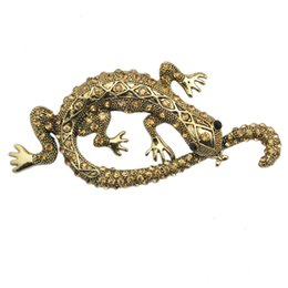 Wholesale Cool Brooches - Wholesale- Cool Design Crystal Rhinestone Lizard Brooch Pin Fashion Costume Animal Accessory