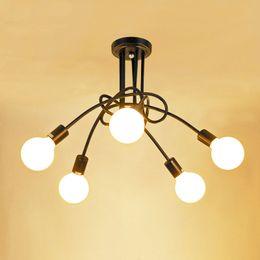 Wholesale Metal Modern Ceiling Lighting - Vintage Ceiling Lights Modern Light Fixtures LED Lamps Home Lighting Metal Lampshade Industrial Edison E27 Holder 3 5 Heads Lamp