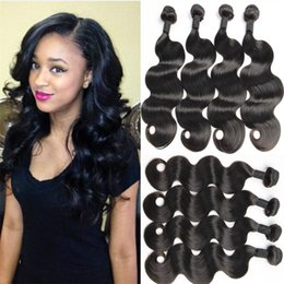 Wholesale Customize Hair Extensions - Unprocessed brazilian virgin hair body wave 4pcs per lot human hair weave bundles customized 10-30 inches hair extensions