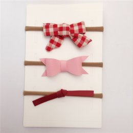 Wholesale Baby 3pcs Set Bow - Soft Baby Nylon Headbnad Set(3pcs)With Glitter Hair Bow Cotton Elastic Hair Ties For Kid Girl Toddler WITHOUT CARD