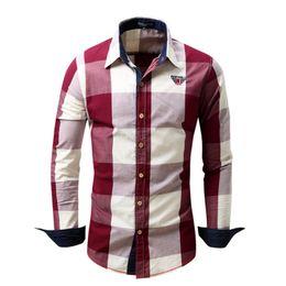 Chemises complètes occasionnels en Ligne-Chemise à carreaux en coton à manches longues hommes 2018 Streetwear d'affaires chemise camisa social masculina chemises