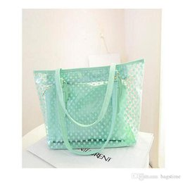 Wholesale mothers day tote bag - 6 Colos Fashion Bags Totes Cross Body Candy Colors Wave Point PVC Transparent Jelly Beach Bags Mother Package With High Quality