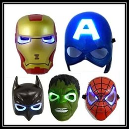 Wholesale Paper Iron Man - new hot LED Glowing Light Mask Superhero SpiderMan Captain America Hulk Iron Man Mask For Kids Adults Party Halloween Birthday