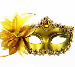 Wholesale Purple Masks Stick - Venetian masqueradeDance Ball Mask Wedding Party Fancy Dress eyemask On Stick Masks Lily Flower Lace Feather Held Stick Mask