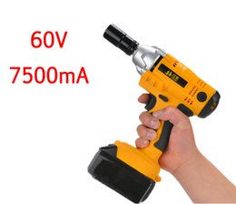 Wholesale Electricity Industry - 60V 7500mA electric impact wrench lithium foot shelf industry woodworking electric wrench pneumatic 20170107#
