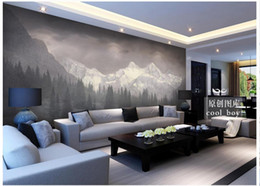 Wholesale Chinese Kitchen Decor - High Quality Custom 3d photo wallpaper murals Simple snow mountain pine forest giant landscape mural background wall decor room wallpaper