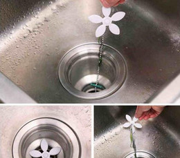 Wholesale Cleaning Sink Drains - Bathroom Drain Wig Kitchen Hair Sewer Filter Strainer Household Sink Flower Cleaning Hook Removes Clogged Tool (Size: 44 cm, Color: White)