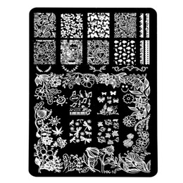 Wholesale Nail Stamp Halloween - Wholesale- New HK Pretty Nail Art Stamping Templates Stainless Steel Stencil Halloween Skull Butterfly Design Nail Plates Manicure Tools