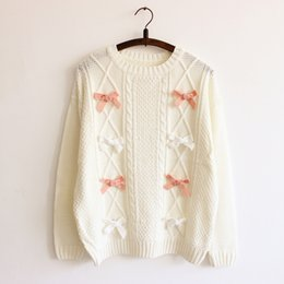 Wholesale Cute Crochet Sweaters - Wholesale- 2016 New Bow tie decoration Women's sweaters Waves knitting beige Lovely cute Lolita sweater teens student girl pullover sweater