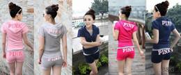 Wholesale Ladies Short Sleeve Sweatshirts - Women Love Pink Vs Hoodies Tracksuits 2017 Spring Ladies 2Piece Sets Short Sleeve Hooded Sweatshirts + Shorts Jogging Sportsuits Sportwear