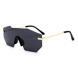 Wholesale Unique Mirrors - ROYAL GIRL Women Sunglasses 2017 New Brand Designer Unique Rimless Mirrored Lens Oversized Glasses ss501