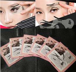 Wholesale Makeup Stencils - Eye Makeup Eyeliner Stencil Eyebrow Shape Models Template Top Bottom Eyeliner Card Auxiliary Tools Eyebrows Stencils