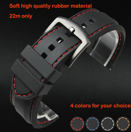 Wholesale Red Bracelet Thread - Wholesale-Watch band 22mm Black Silicon Rubber Waterproof Divers Watch Strap Band Red Thread Size Free Shipping