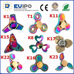 Wholesale Metal Ufo Toy - Wholesale CE ROHS CPSC EUIPO Certification Anti-stress fidget spinner Metal UFO Rainbow Hand Spinner Toys Best Quality Metal Fidget Spinners