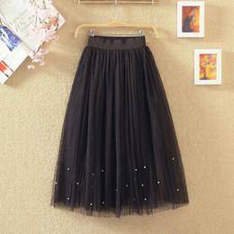 Wholesale Women Flower Tutu - summer women length skirt Elastic waist Lace flower Pearl Beaded gauze Tutu skirt body elegant skirt
