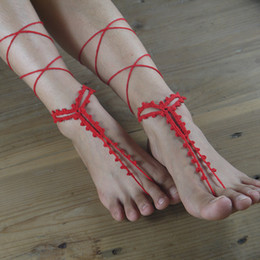 Wholesale Copper Pools - 2017 Women's Crochet Barefoot Sandals Nude Shoes Foot Jewelry Wedding Victorian Lace Sexy Anklet Women's shoes Steampunk Beach Pool