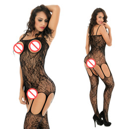 Wholesale Hottest Women Lingerie - Free Shipping one piece open bust floral lace mature bodystocking Women Sexy Lady Pantyhose Open Crotch Babydoll Lingerie Black Hot