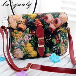 Wholesale Red Flower Purse - Wholesale- 1PC Hight Quality Hot Beauty Women Painting Flowers Leather Crossbody Shoulder Bag Handbag Tote Bags Purse Free Shipping Dec 1