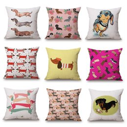 Wholesale Heart Pillow Cover - Dachshund Cushion Cover 45X45cm Watercolor Sausage dog Rose Flower Love Heart Beige Pillow Cases Thin Linen Cotton Bedroom Sofa Decoration