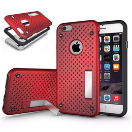 Wholesale Iphone Metal Mesh Case - Hard Mesh Heat Radiating Phone Case Skin With Kickstand Holder Stand Hard TPU PC Back Cover For Iphone 6 6S Plus