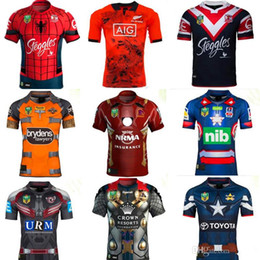 Wholesale Iron Man Patriot - 17 18 rugby Jersey Newcastle Knights Iron Patriot Brisbane Broncos Iron Man Melbourne Storm Thor Wests Tigers Sea Eagles North Queensland