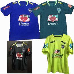 Wholesale Dark Green Jersey - New Sports football Brazil shirt yellow blue black Dark green training suit Soccer Jerseys S-2XL