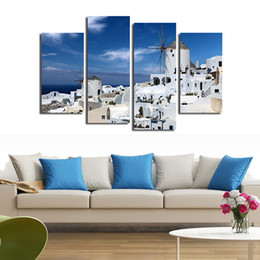 Wholesale greeks pictures - 4pcs set Unframed Greek Aegean Seaside White Buildings HD Print On Canvas Wall Art Picture For Home and Living Room Decor