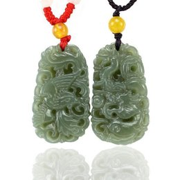 Wholesale jade good luck pendants - natural green jade dragon Phoenix good luck gift Couples charm Pendants necklace