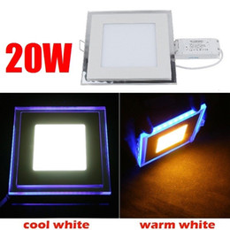 Wholesale Energy Saving Ceiling Led Panel - Wholesale- 20W Square Acrylic Led Ceiling Panel Light Lamp Bulb Downlight Warm Cold White Blue For Home Living Room Indoor Lighting