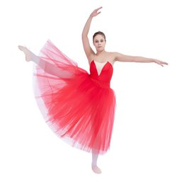 Wholesale Only Tutu - Ballet Dancing Tutus Romantic Long CottonLycra Waistband and Soft Tulle Skirt on Basque Girls Women Performance Costumes SKIRT ONLY