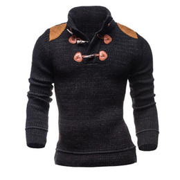 Wholesale Flat Knit Collar - Wholesale- Male Sweater 2016 Male Brand High Quality Casual Slim Sweaters Men Personalized Decorative Hedging Collar Men'S Sweater XXL