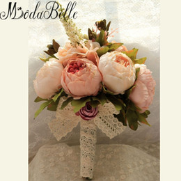Wholesale Handmade Bouquets - modabelle Wedding Bouquet Beautiful Handmade Flowers Decorative Artificial Rose Flowers Bride Bridal Lace Accents Wedding Bouquets
