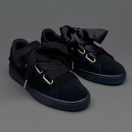 Wholesale Hearts Media - New Womens Rihanna Suede Basket Heart Purple Bow Shoes Brand Ladies Riri Black Casual Sneakers 36-39