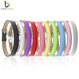 """Wristband slide letter 8mm leather on-line-Atacado- 100PCS 8MM PU couro Metal Lustre pulseiras DIY pulseira """"pode escolher a cor"""" Fit 8 mm Slide carta / encantos LSBR07 * 100"""