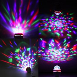 Wholesale Rotating Disco Ball Light - Colorful 3W LED Disco DJ Party Music Crystal Magic Ball Portable Stage Light Auto Rotating Lamp with USB Interface