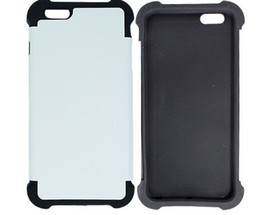 Wholesale blank black iphone case - Sublimation 3D Double 2 in 1 blank plastic + silicone case For iphone 5s 6s 7 8 plus cases for iphone X 100PCS