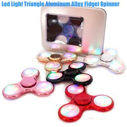 Wholesale Toy Plush Cube - Top LED Light Triangle Aluminum Alloy Fidget Spinner Toy Hand Spinners CNC EDC Finger Tip decompression Novelty Rollver Plush Cube Toys DHL