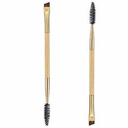 Wholesale Eyebrow Sponge Brush - Wholesale-Hot hothot 1PCS Makeup Bamboo Handle Double Eyebrow Brush + Eyebrow Comb Synthetic Fibre Hair at9