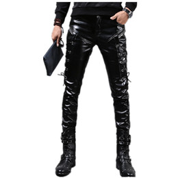 fashion wear flats Coupons - Wholesale- New Winter Mens Skinny Biker Leather Pants Fashion Faux Leather Motorcycle Trousers For Male Stage Club Wear Q2634